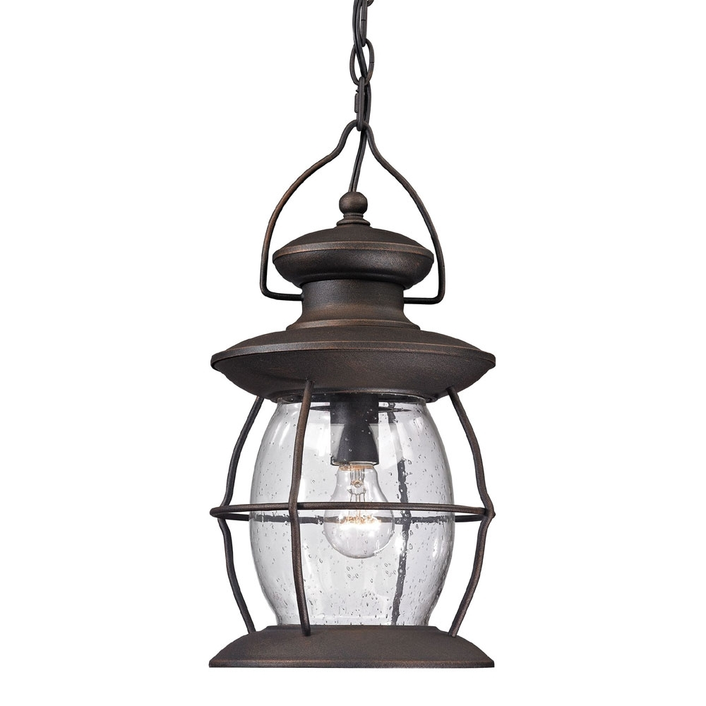 Outdoor Hanging Pendant Lights With Regard To Most Up To Date Elk 47043 1 Village Lantern Traditional Weathered Charcoal Outdoor (View 6 of 20)