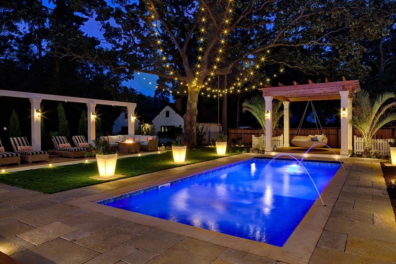 Outdoor Hanging Pool Lights Throughout Well Known Peek Into This Resort Style Backyard (View 13 of 20)