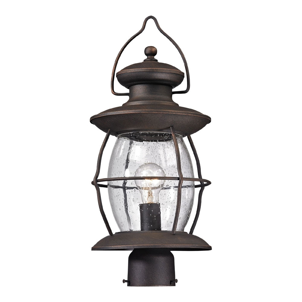 Outdoor Hanging Post Lights With Fashionable Elk 47041 1 Village Lantern Traditional Weathered Charcoal Outdoor (View 18 of 20)