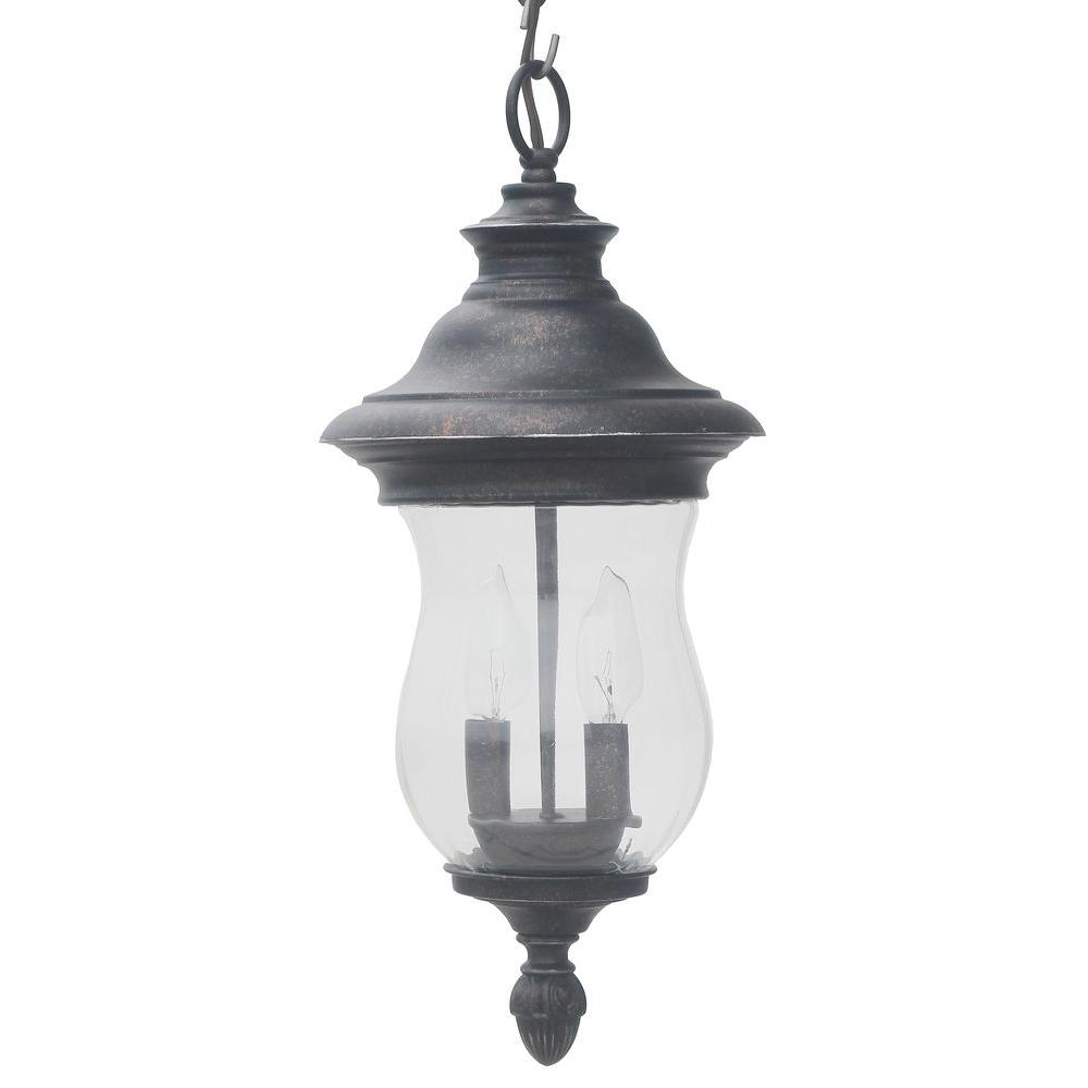 Outdoor Hanging Post Lights Within Favorite Home Decorators Collection Wesleigh 2 Light Bronze Outdoor Chain (View 13 of 20)