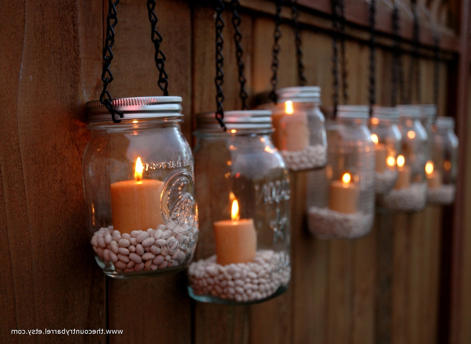 Outdoor Hanging Tea Lights In Most Popular Mason Jar Hangers (View 9 of 20)