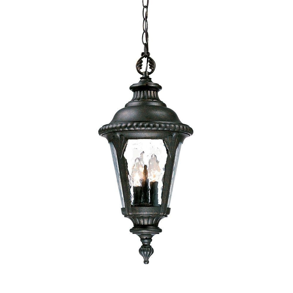 Outdoor Hanging Wall Lanterns In Most Recently Released Acclaim Lighting Surrey Collection 3 Light Black Gold Outdoor (View 7 of 20)