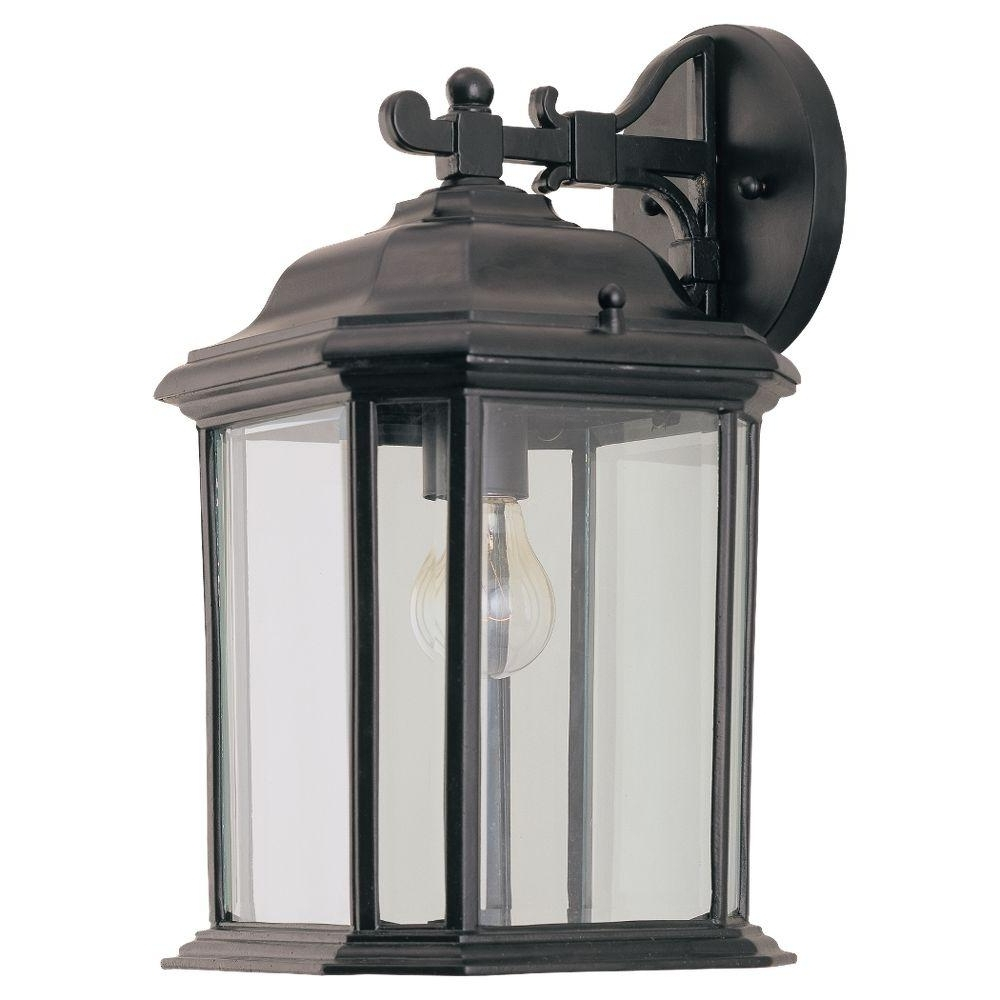 Outdoor Hanging Wall Lanterns Inside Most Up To Date Sea Gull Lighting Kent 1 Light Black Outdoor Wall Fixture 84031 (View 10 of 20)