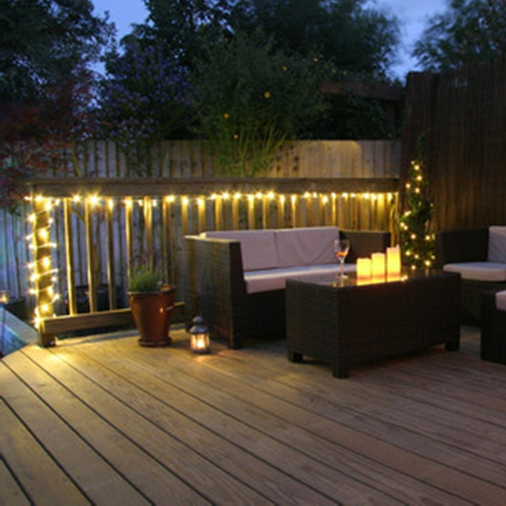 Outdoor Hanging Wall Lights With Regard To Recent Stylish Wooden Deck With Wicker Furniture For Decorative Garden (View 11 of 20)