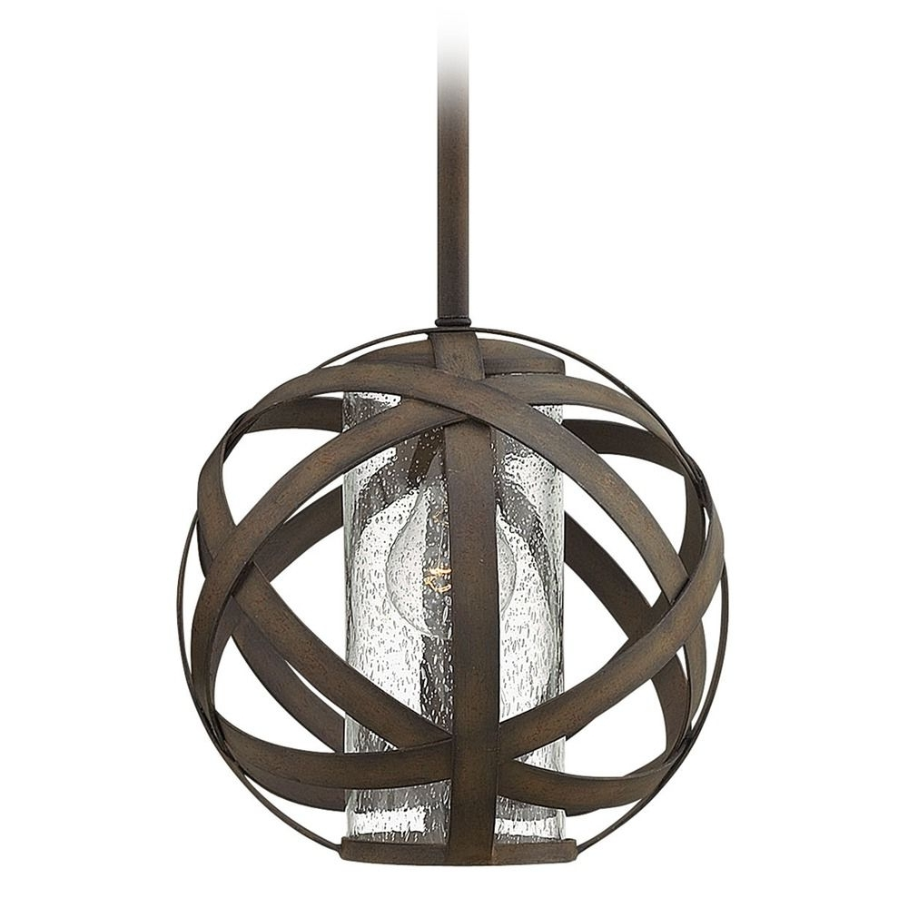 Outdoor Iron Hanging Lights Intended For Famous Industrial Vintage Seeded Glass Outdoor Hanging Light Iron Hinkley (Gallery 11 of 20)