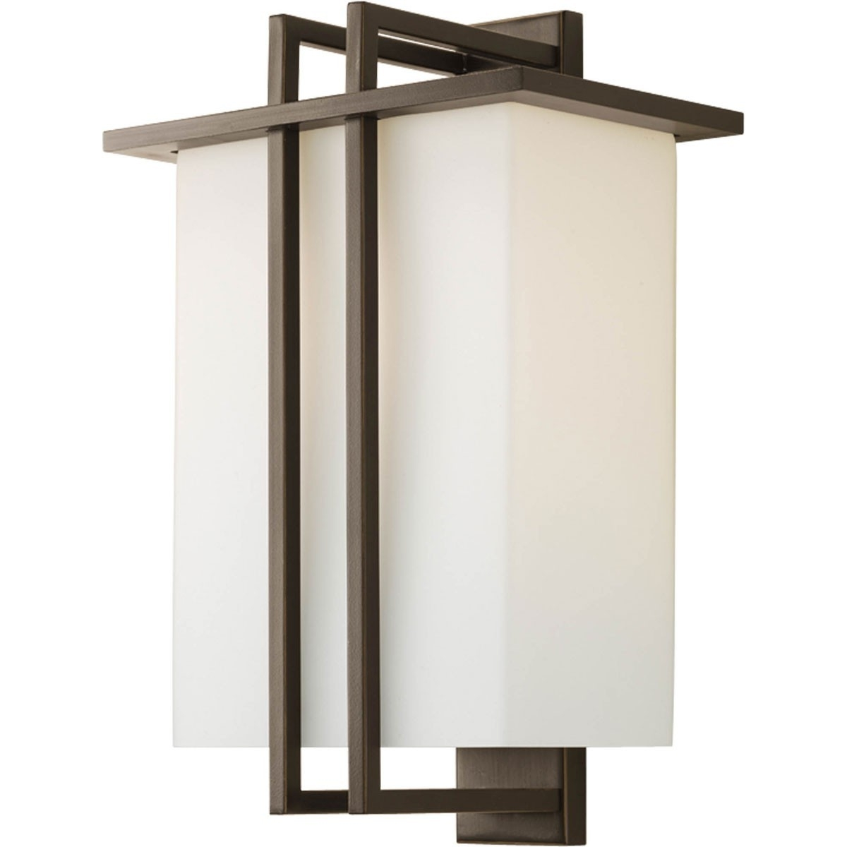 Outdoor Large Wall Lantern With Etched Opal Shades – Progress With Regard To Popular Large Outdoor Wall Light Fixtures (View 14 of 20)