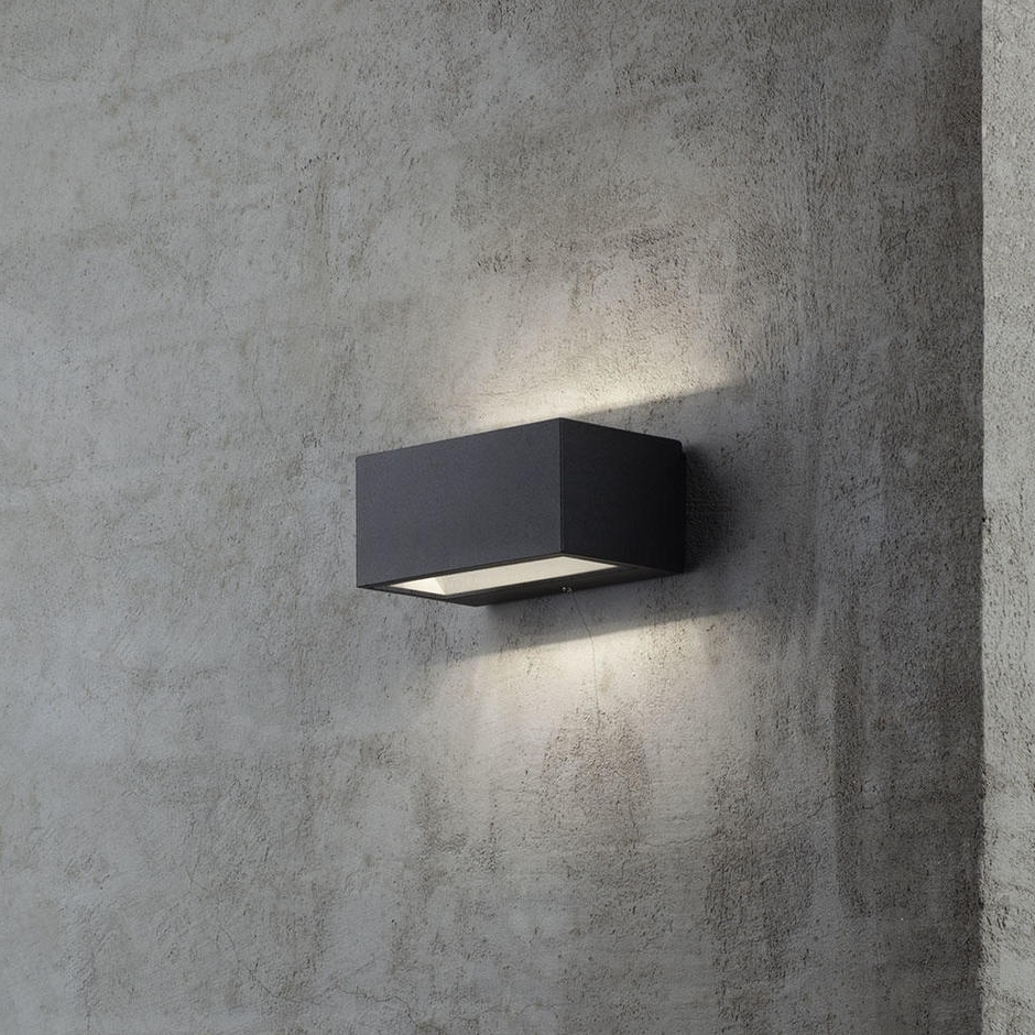 Outdoor Led Wall Lights For House Sign With Door Number In Trendy Furniture : Astro Oslo Black Exterior Led Wall Light Outdoor With (View 19 of 20)