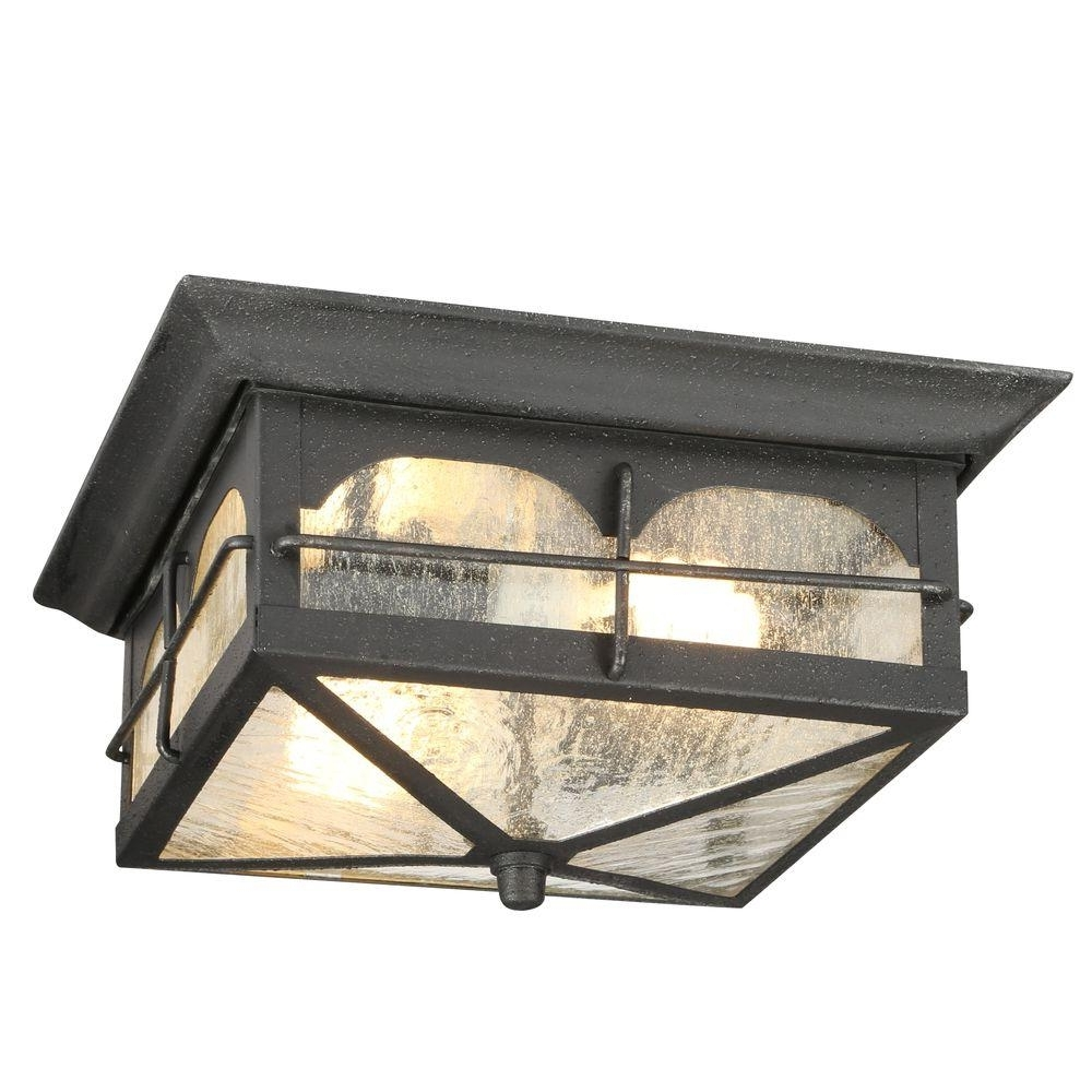Outdoor Motion Sensor Ceiling Mount Lights For Well Known Home Decorators Collection Brimfield 2 Light Aged Iron Outdoor (View 10 of 20)