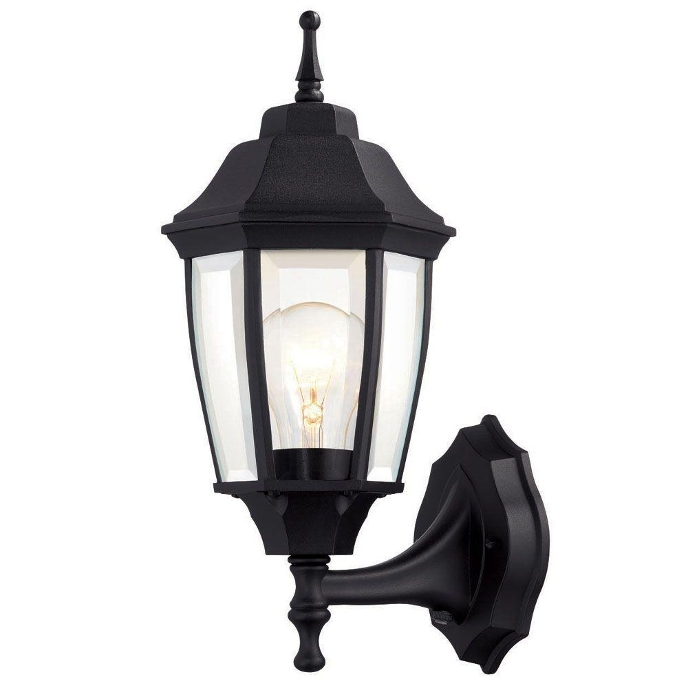 Outdoor Porch Light Fixtures At Home Depot Regarding Most Current Hampton Bay 1 Light Black Dusk To Dawn Outdoor Wall Lantern Bpp (View 3 of 20)