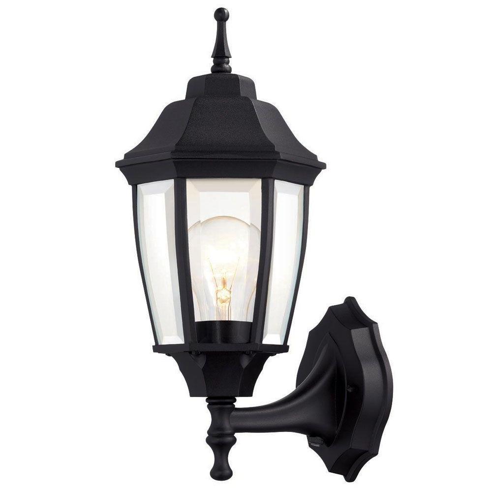 Outdoor Porch Light Fixtures At Home Depot Regarding Most Current Hampton Bay 1 Light Black Dusk To Dawn Outdoor Wall Lantern Bpp (View 11 of 20)