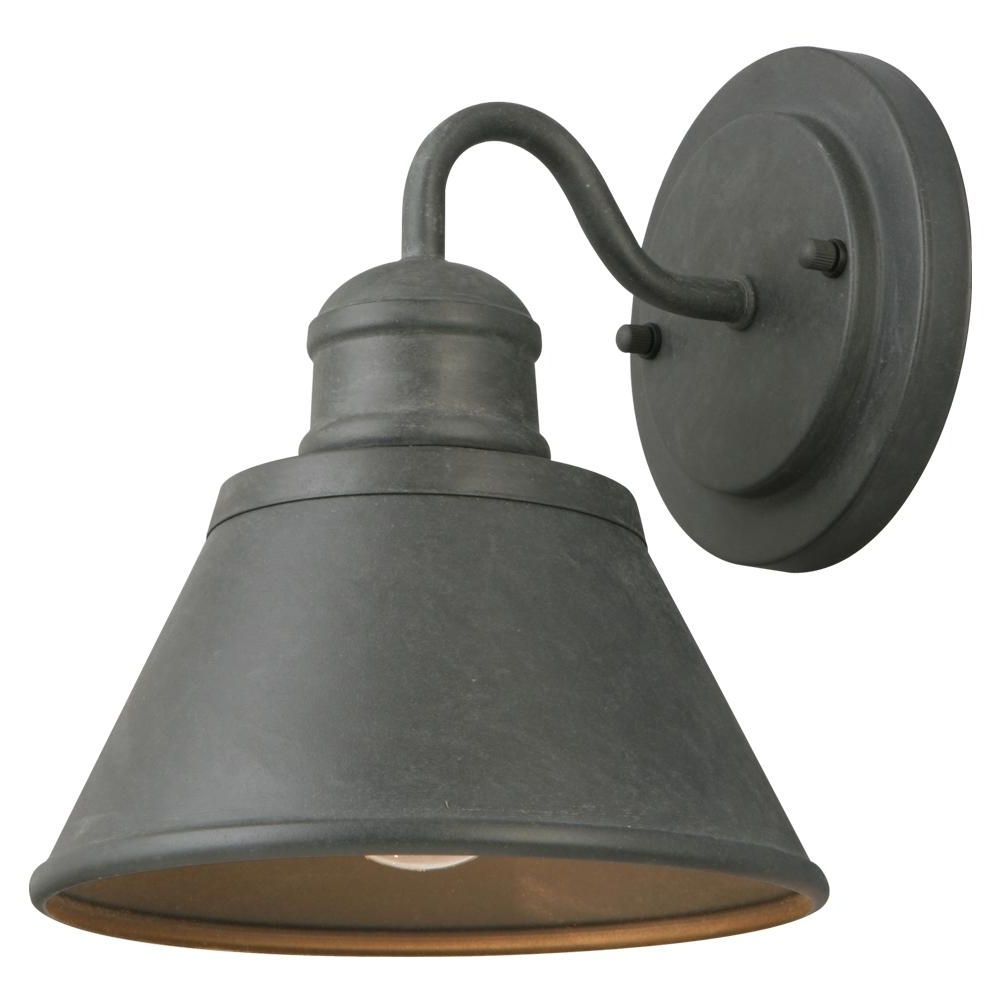 Outdoor Porch Light Fixtures At Home Depot Regarding Preferred Hampton Bay 1 Light Zinc Outdoor Wall Lantern Hsp1691a – The Home Depot (View 5 of 20)