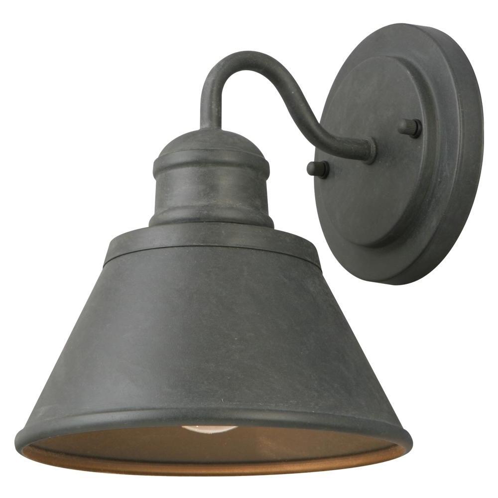 Outdoor Porch Light Fixtures At Home Depot Regarding Preferred Hampton Bay 1 Light Zinc Outdoor Wall Lantern Hsp1691A – The Home Depot (View 12 of 20)