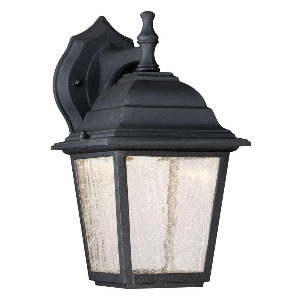 Outdoor Porch Light Fixtures At Home Depot With Well Known Westinghouse 1 Light Black Outdoor Integrated Led Wall Mount Lantern (View 1 of 20)