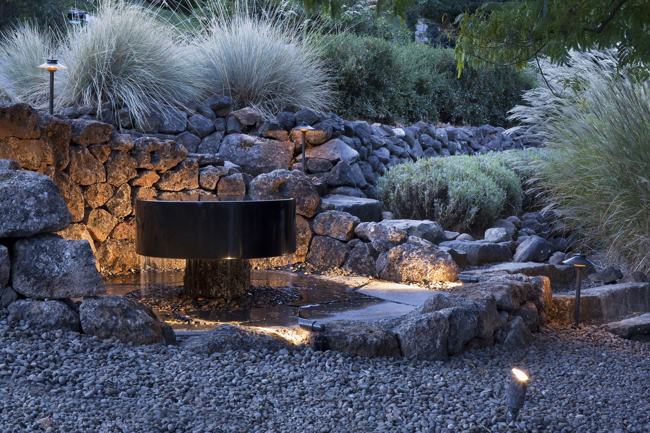 Outdoor Rock Wall Lighting Within Latest Outdoor Lighting — Solid Ground Landscape (View 6 of 20)