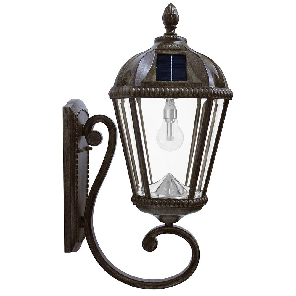 Outdoor Solar Wall Lights Intended For Most Recently Released Gama Sonic Royal Bulb Series 1 Light Weathered Bronze Outdoor (View 9 of 20)