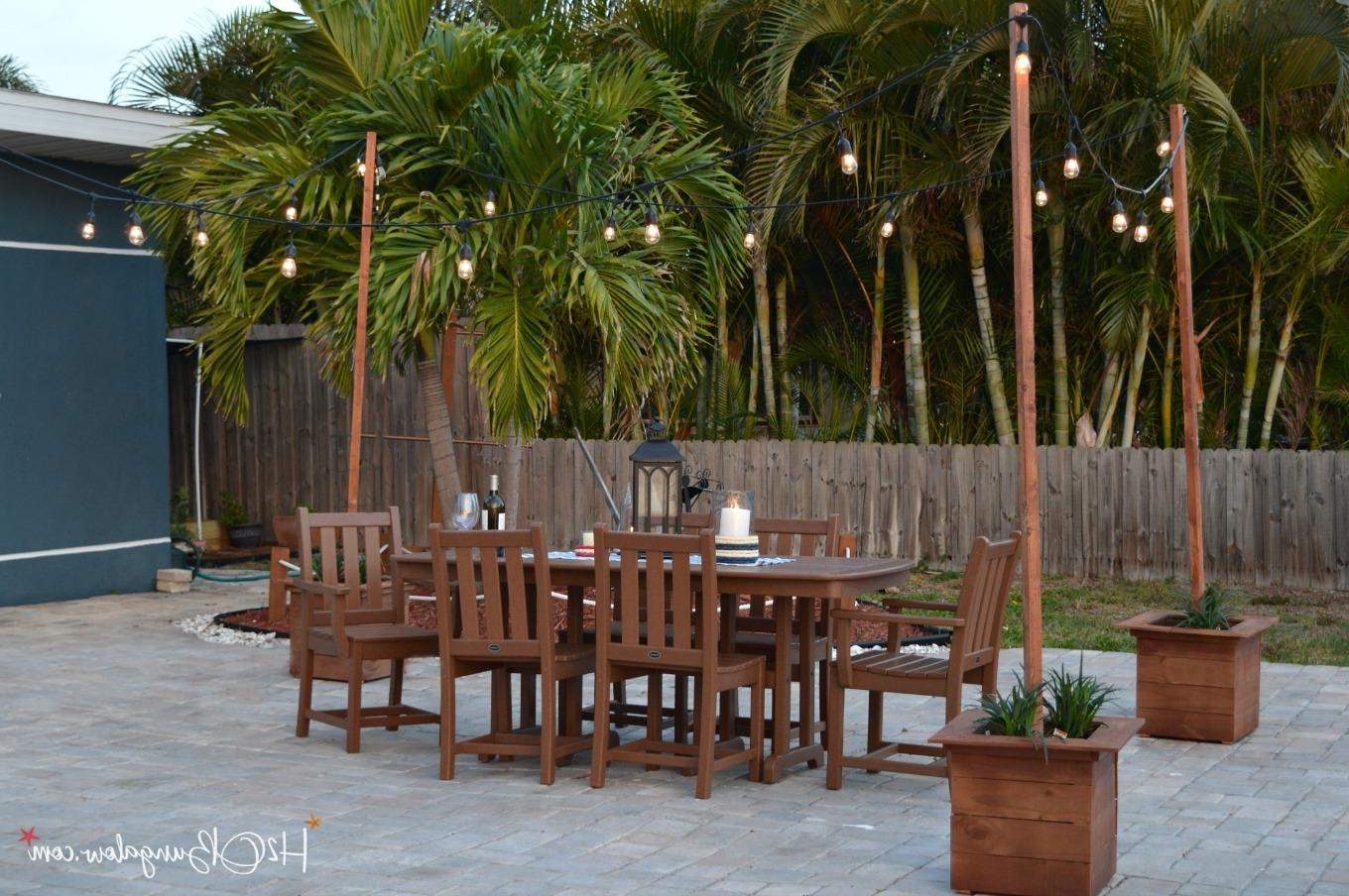 Outdoor String And Patio Lights Inside Well Liked Diy Outdoor String Lights On Poles – H20Bungalow (View 12 of 20)