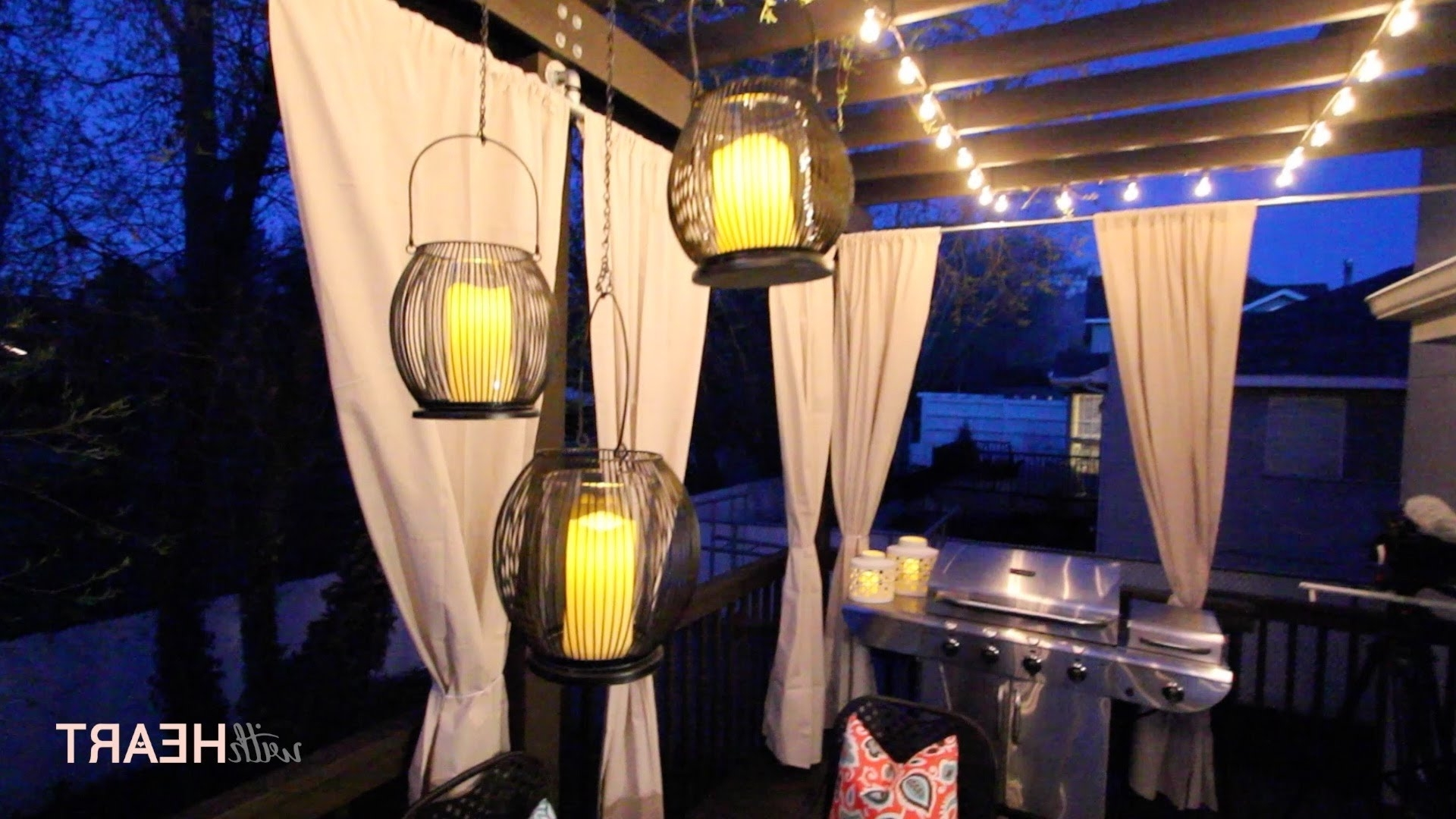 Outdoor String Lights And Hanging Lanterns Withheart Youtube With Regard To Famous Outdoor Hanging Lanterns For Patio (View 16 of 20)