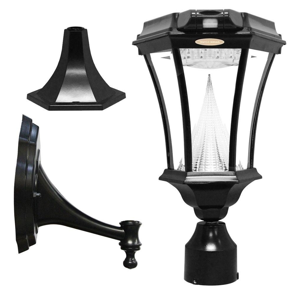 Outdoor Wall And Post Lighting Pertaining To Fashionable Gama Sonic Victorian Single Black Integrated Led Outdoor Solar Lamp (View 17 of 20)