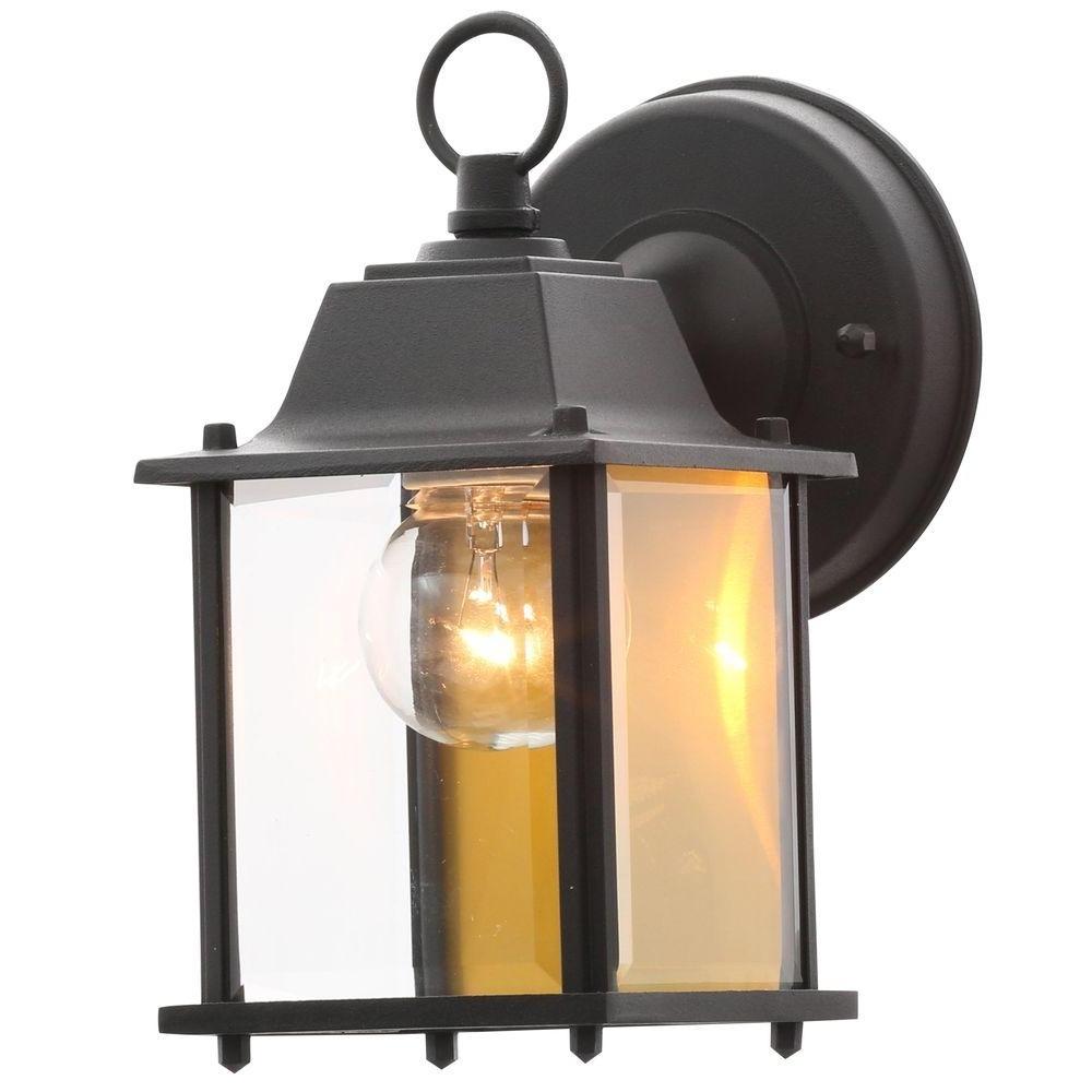 Outdoor Wall Lantern Lighting Pertaining To Most Popular Hampton Bay 1 Light Black Outdoor Wall Lantern Bpm1691 Blk – The (View 13 of 20)