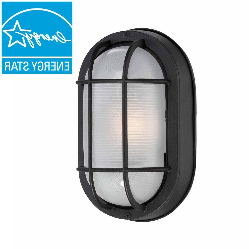 Outdoor Wall Led Lighting Fixtures Intended For 2018 Hampton Bay Black Outdoor Led Wall Lantern Hb8822Led 05 – The Home Depot (View 18 of 20)
