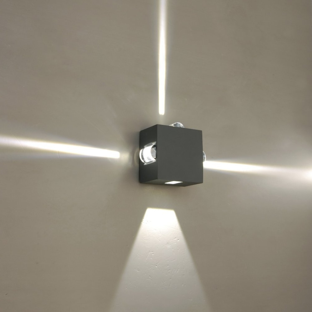 Outdoor Wall Led Lighting Inside Newest Lutec Lighting Evans 1863 Graphite Cree Led 4 Spot Wall Light At (View 2 of 20)