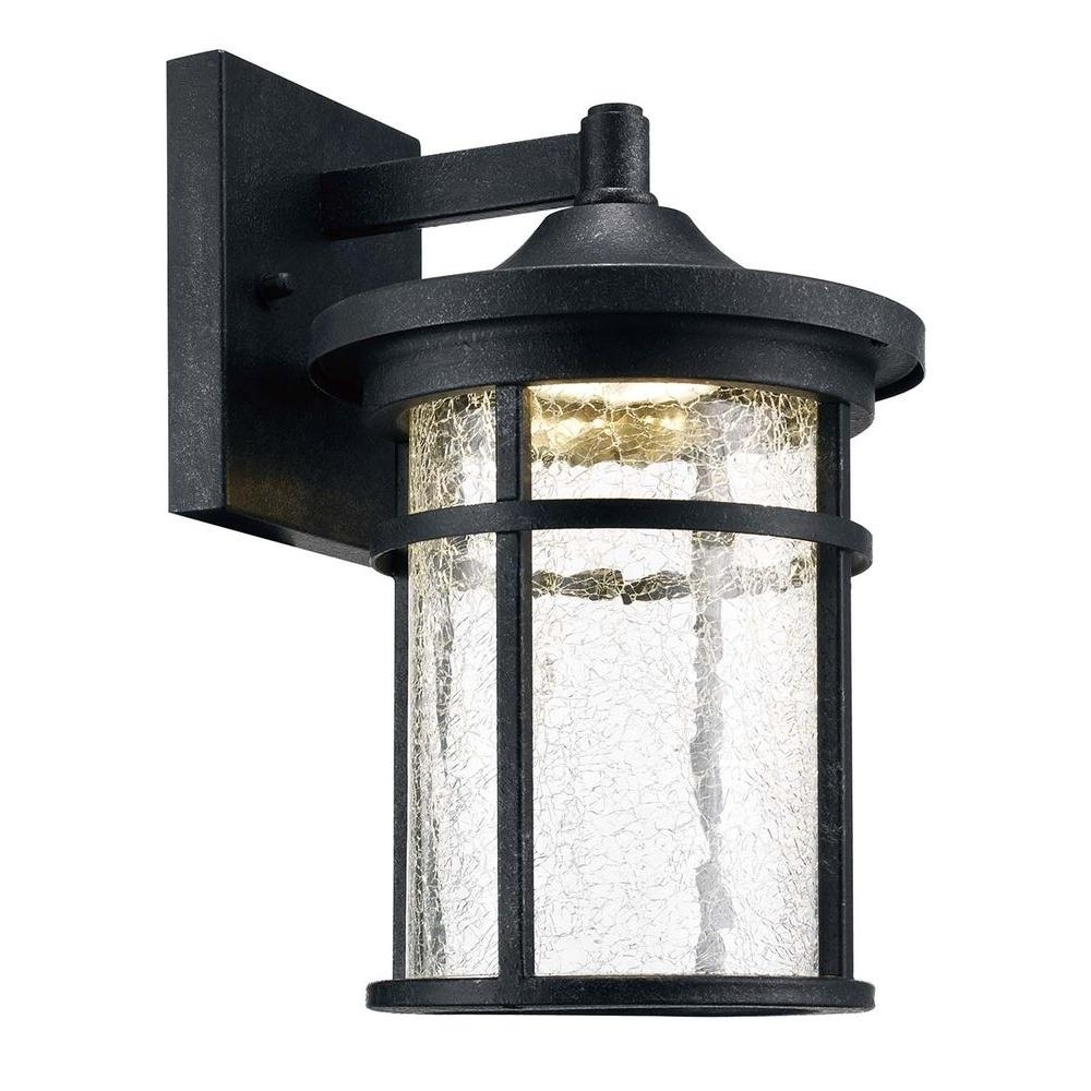 Outdoor Wall Lighting At Home Depot Pertaining To Most Current Home Decorators Collection Aged Iron Outdoor Led Wall Lantern With (View 10 of 20)