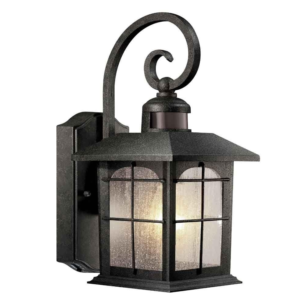 Outdoor Wall Lighting At Home Depot Pertaining To Widely Used Home Decorators Collection Brimfield 180° 1 Light Aged Iron Motion (View 15 of 20)