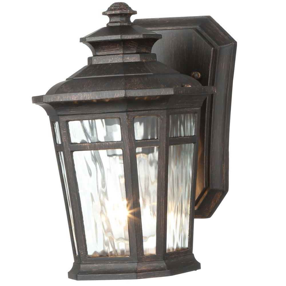 Outdoor Wall Lighting At Home Depot With Most Popular Home Decorators Collection Waterton 1 Light Dark Ridge Bronze (View 16 of 20)