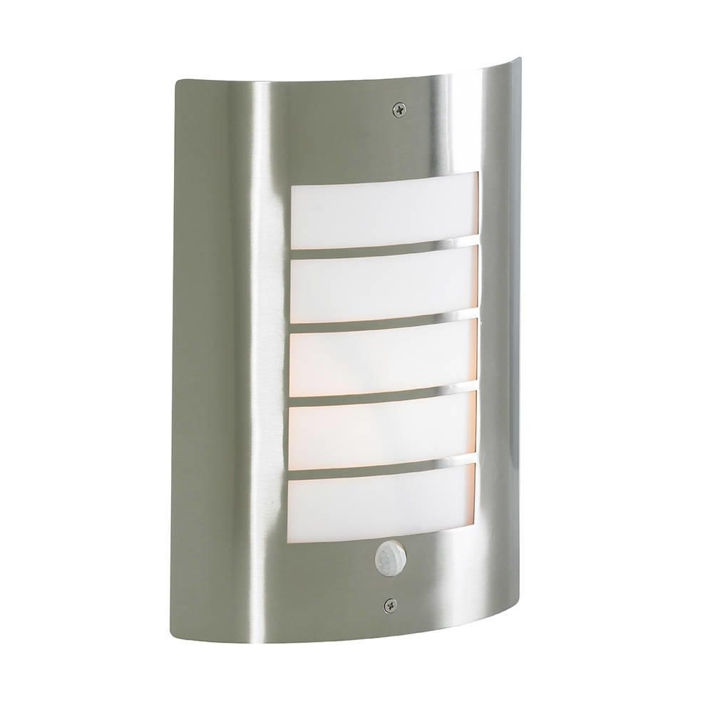 Outdoor Wall Lights At Wickes Within Most Recently Released Severn Slatted Pir Outdoor Wall Light Satin Chrome, Outdoor Lighting (View 4 of 20)