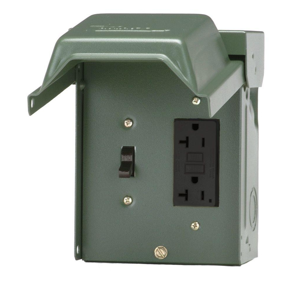 Outdoor Wall Lights With Gfci Outlet In Preferred Ge 20 Amp Backyard Outlet With Switch And Gfi Receptacle U010S010Grp (View 11 of 20)