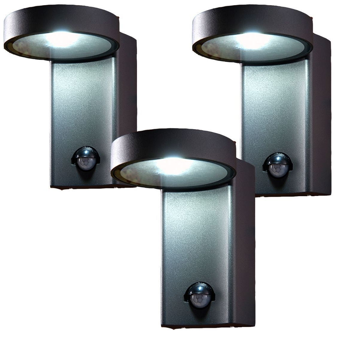 Outdoor Wall Lights With Pir With Fashionable 3 X Saxby 67696 Oreti Pir Dark Matt Anthracite 10W Ip44 Outdoor Wall (View 14 of 20)