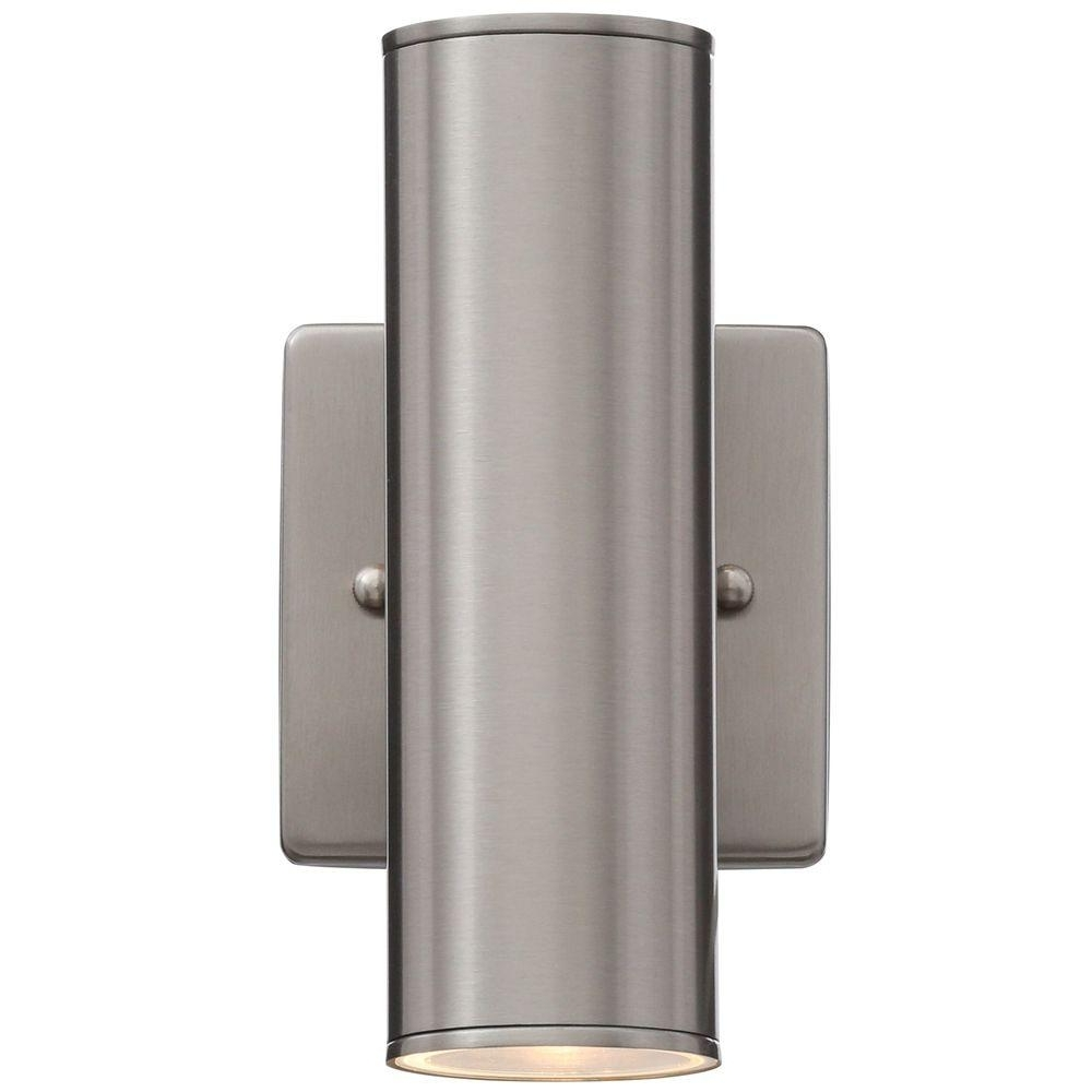 Outdoor Wall Lights With Plug With Newest Light : Hampton Bay Riga Light Stainless Steel Outdoor Wall Mount (View 12 of 20)