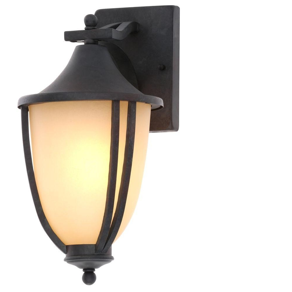 Outdoor Wall Mounted Decorative Lighting Inside Famous Hampton Bay 1 Light Rustic Iron Outdoor Wall Mount Lantern (2 Pack (View 15 of 20)