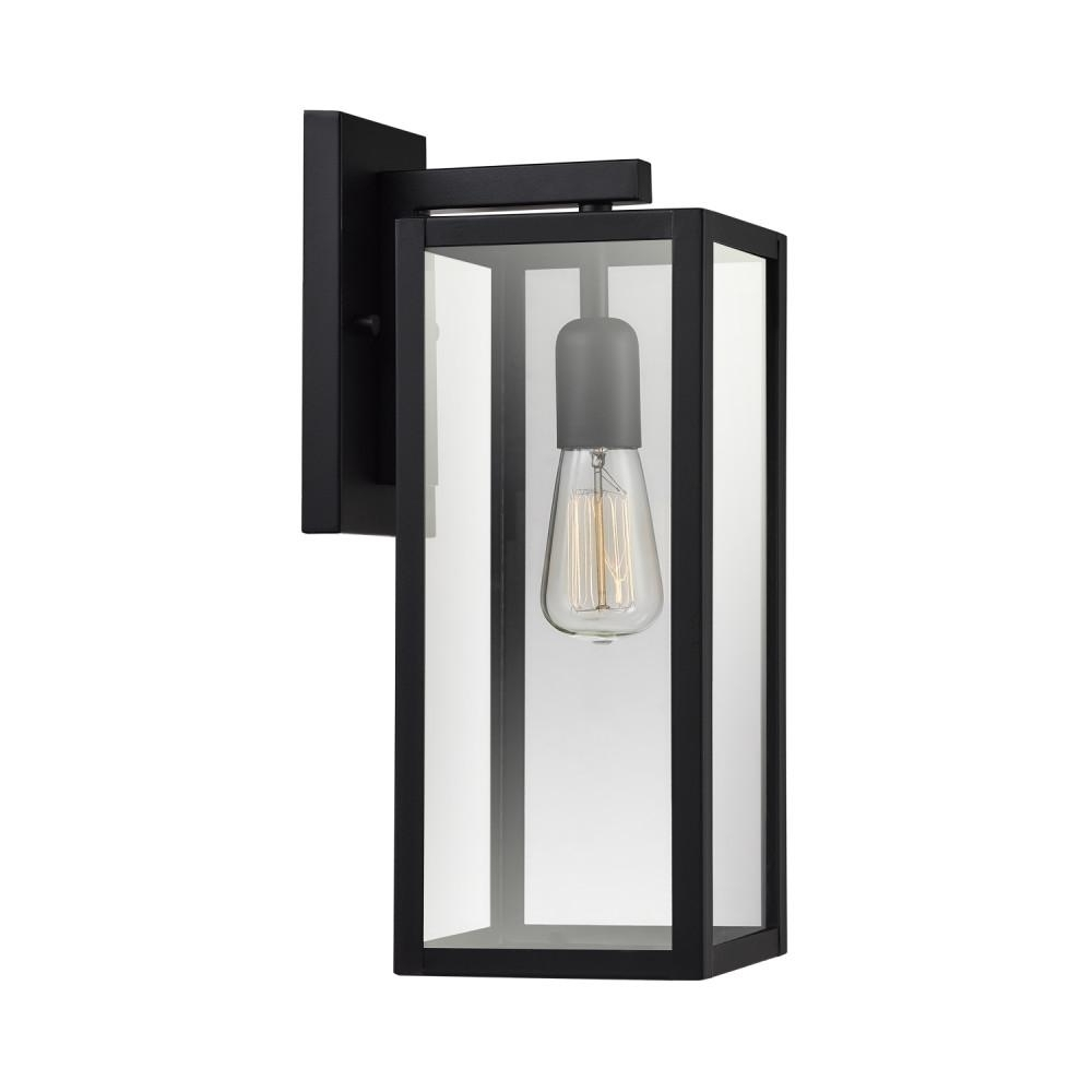 Outdoor Wall Mounted Globe Lights For Most Recent Globe Electric Hurley 1 Light Matte Black Outdoor Wall Mount Sconce (View 11 of 20)