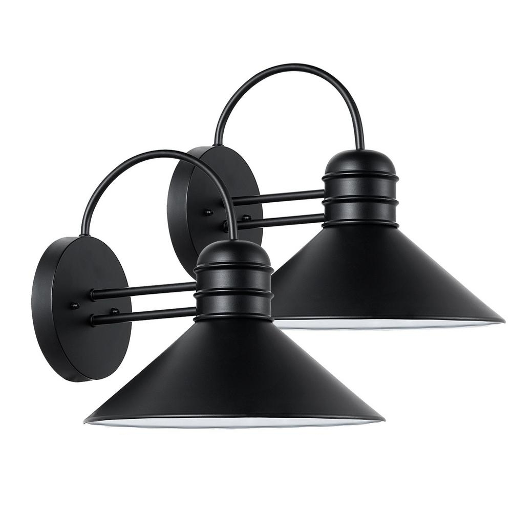 Outside Wall Globe Lights In Most Recent Globe Electric Sebastien 1 Light Black Outdoor Wall Sconce (2 Pack (View 9 of 20)