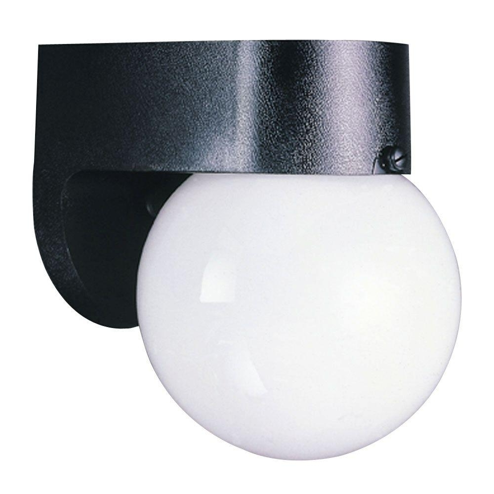 Outside Wall Globe Lights Pertaining To Famous Westinghouse 1 Light Black Hi Impact Polycarbonate Exterior Wall (View 14 of 20)