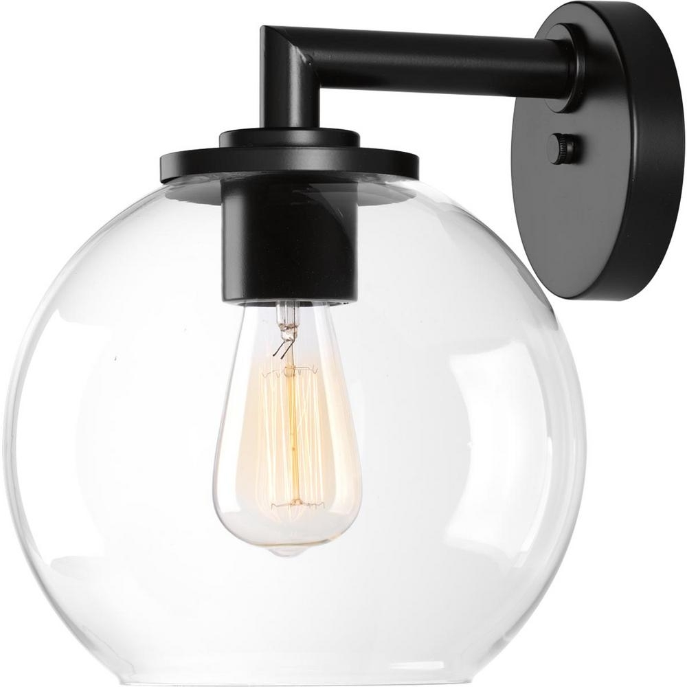 Outside Wall Globe Lights Regarding 2018 Progress Lighting Globe Lanterns Collection 1 Light Black Outdoor (View 16 of 20)