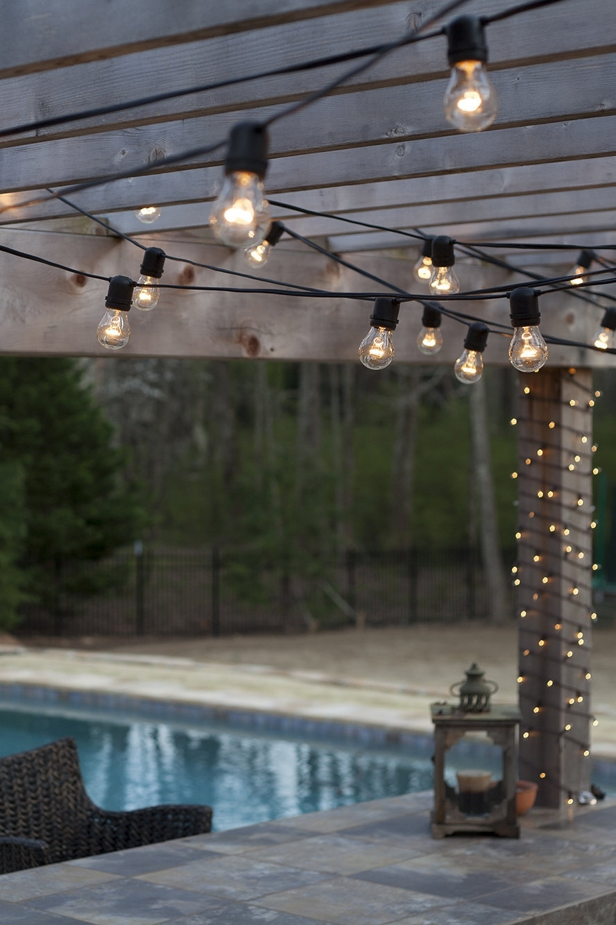 Patio Umbrella Lights Lowes Target Outside Ideas Outdoor String Home Within Most Popular Hanging Outdoor String Lights At Target (View 17 of 20)