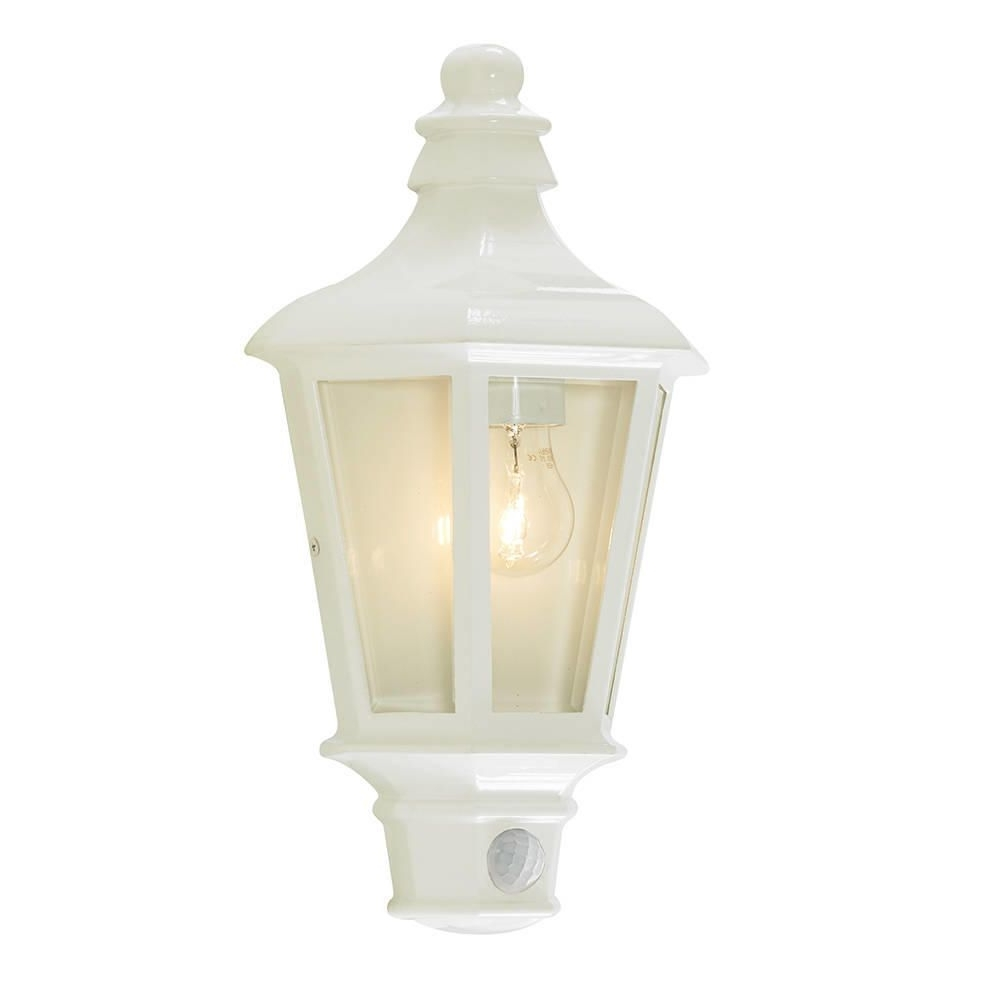Perry Outdoor Pir Half Lantern – White From Litecraft In Well Known Half Lantern Outside Wall Lights (View 12 of 20)