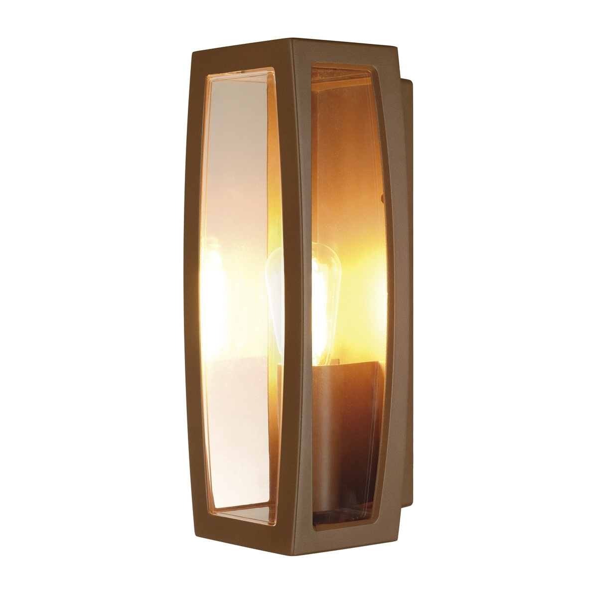 Plastic Outdoor Wall Light Fixtures Within Most Current Meridian Box 2, Outdoor Wall Light, Tc (D,h,t,q)Se, Rust, Max (View 17 of 20)
