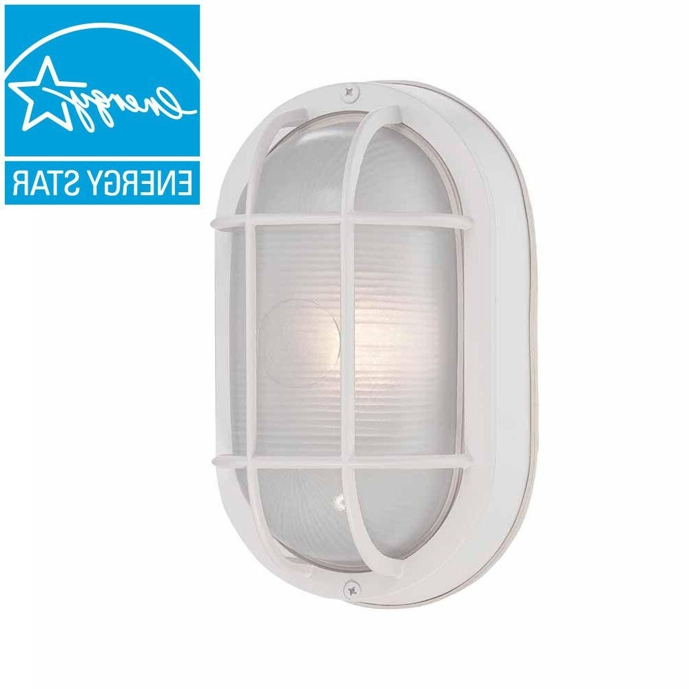 Plastic Outdoor Wall Lighting With Widely Used Hampton Bay White Outdoor Led Wall Lantern Hb8822led 06 – The Home Depot (View 15 of 20)