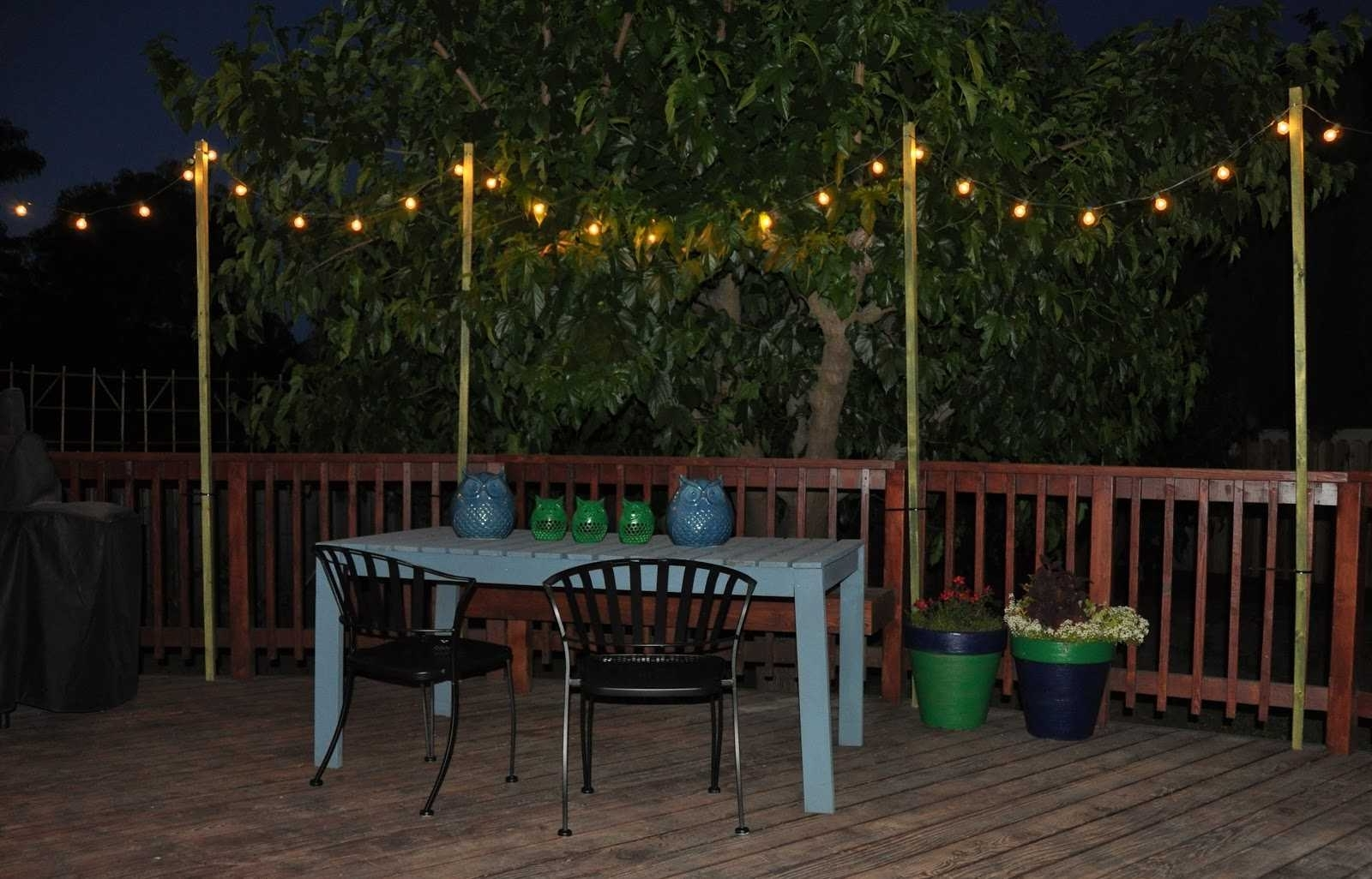 Poles For String Lights Inspirations Including Fabulous Best Way Pertaining To 2018 Hanging Outdoor Lights Without Nails (View 2 of 20)