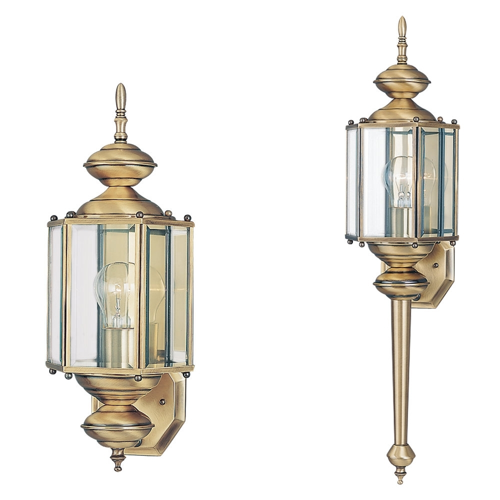 Polished Brass Outdoor Ceiling Lights Pertaining To Most Current 8510 01,one Light Outdoor Wall Lantern,antique Brass (View 9 of 20)