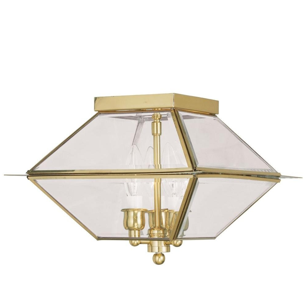 Polished Brass Outdoor Ceiling Lights With Recent Livex Lighting Providence 3 Light Polished Brass Outdoor (View 19 of 20)