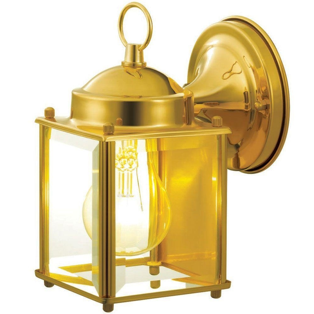 Polished Brass Outdoor Wall Lighting Pertaining To Most Recent Hampton Bay 1 Light Polished Brass Outdoor Wall Mount Lantern (View 5 of 20)