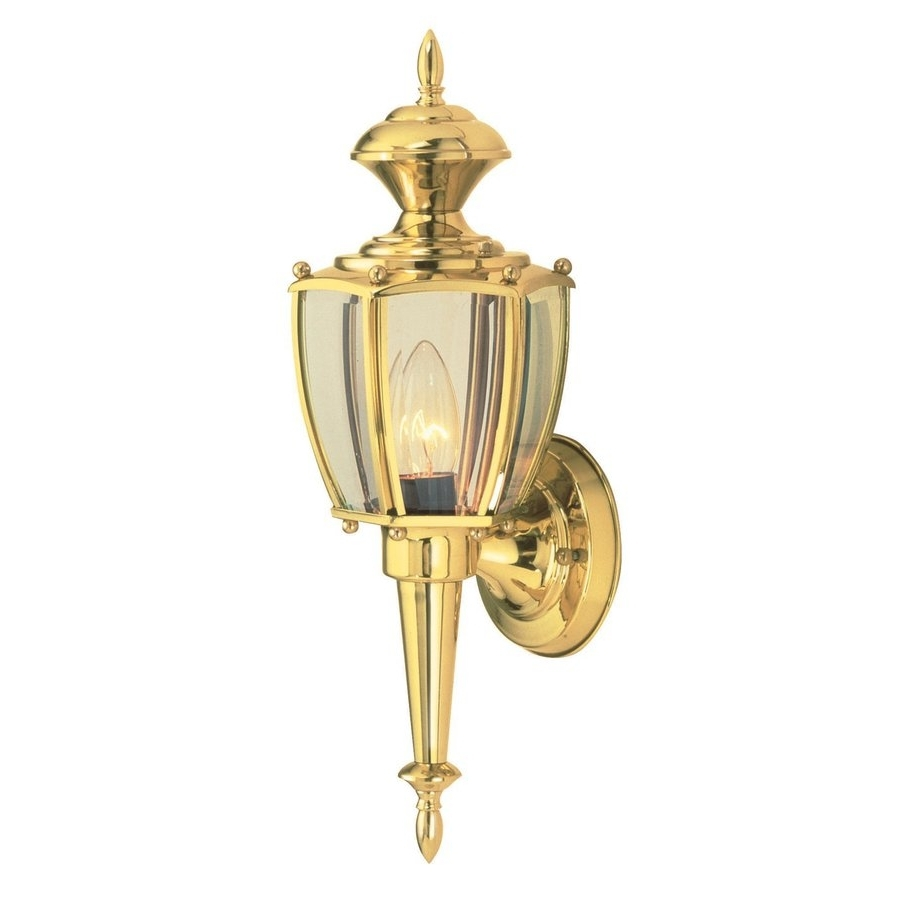 Polished Brass Outdoor Wall Lights Within Fashionable Shop Design House Jackson 17 In H Polished Brass Medium Base (E  (View 14 of 20)