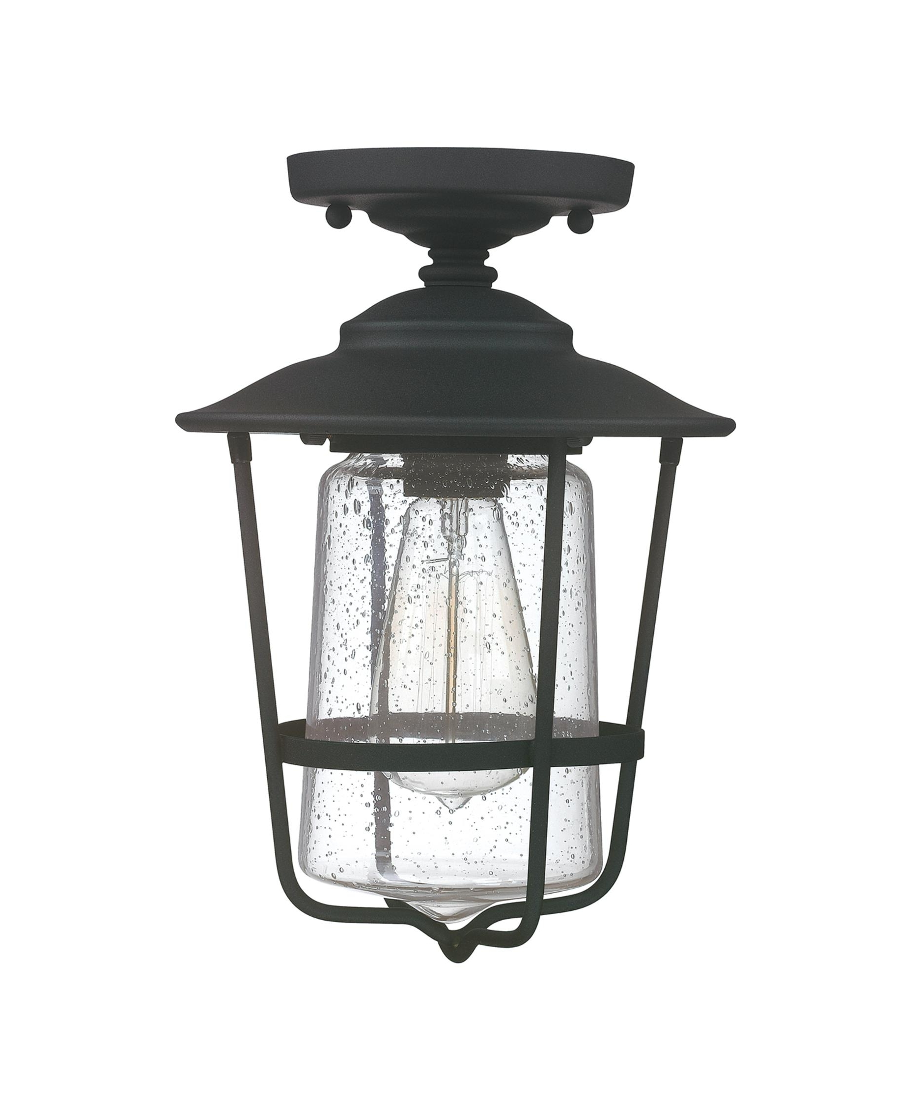 Popular Black Outdoor Ceiling Lights In Capital Lighting 9607 Creekside 8 Inch Wide 1 Light Outdoor Flush (View 15 of 20)