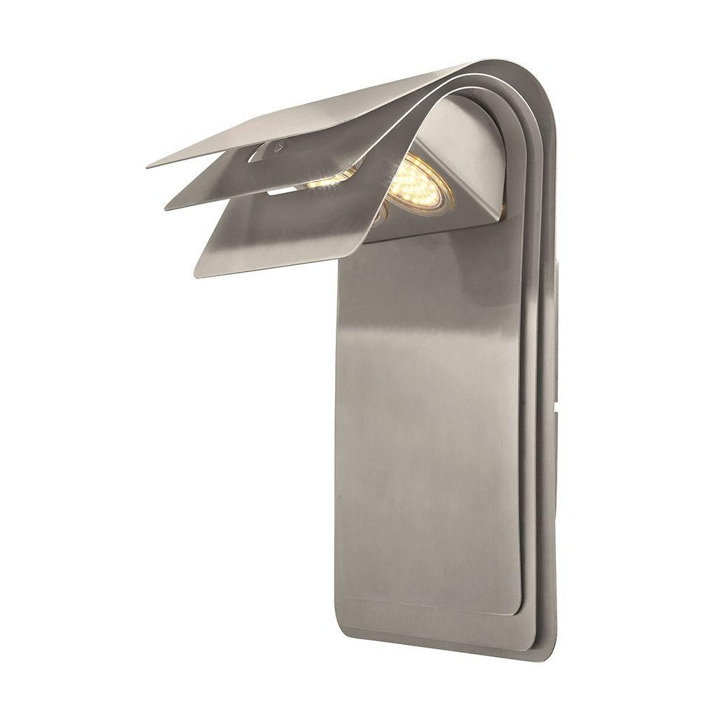 Popular Chrome Outdoor Wall Lighting For Eglo Sojo 2 Light Satin Nickel Outdoor Integrated Led Wall Light (View 19 of 20)