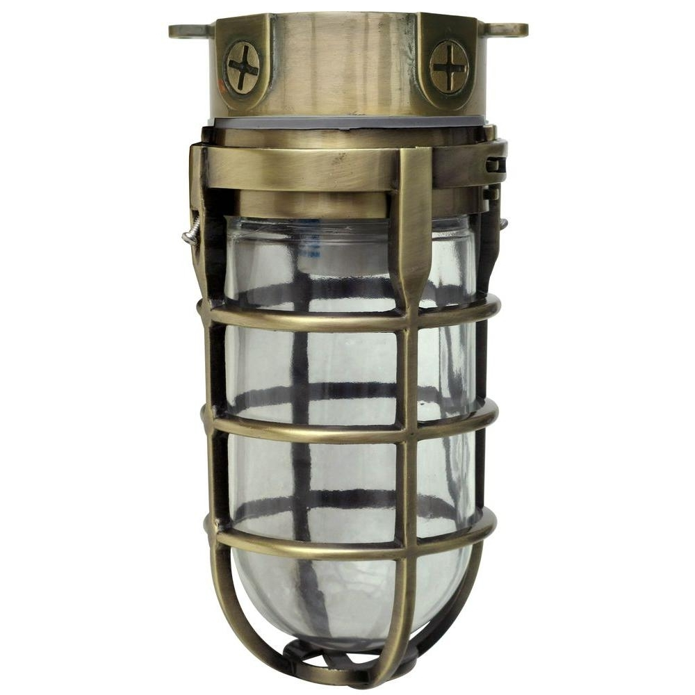 Popular Designers Edge Industrial 1 Light Antique Brass Outdoor Weather Regarding Brass Outdoor Ceiling Lights (View 14 of 20)