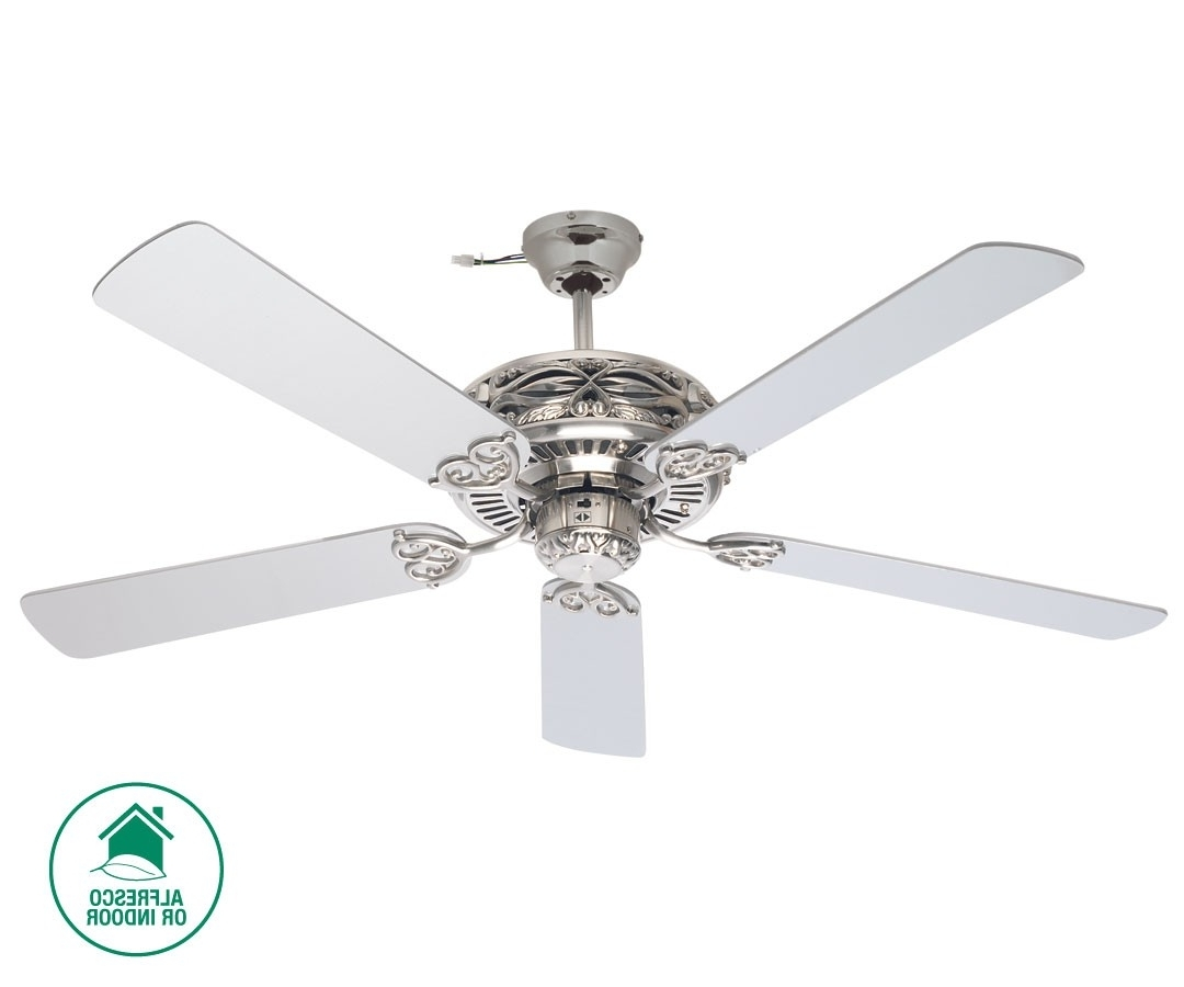 Popular Grenada 132Cm Fan In Brushed Chrome With Silver Blades,fans,beacon For Outdoor Ceiling Fan Beacon Lighting (View 14 of 20)